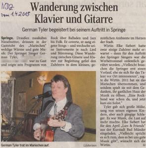Konzertbesprechung, Neue Deister-Zeitung vom 01.04.2015